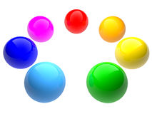 Rainbow color spheres. Isolated on white. Royalty Free Stock Photos