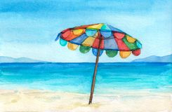 Rainbow color umbrella on the tropical beach. Watercolor hand drawn illustration. vector illustration