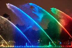Rainbow color water in fountain Royalty Free Stock Images