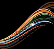 Rainbow color wavy lines on black background Stock Image