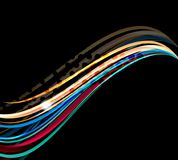 Rainbow color wavy lines on black background Royalty Free Stock Images