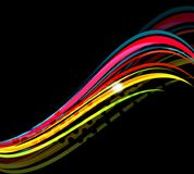 Rainbow color wavy lines on black background Stock Photos