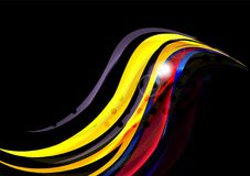 Rainbow color wavy lines on black background Royalty Free Stock Image