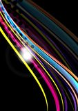 Rainbow color wavy lines on black background Stock Photography