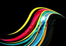 Rainbow color wavy lines on black background Stock Photo