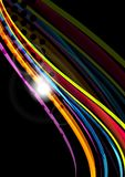 Rainbow color wavy lines on black background Royalty Free Stock Photography