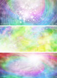 3 rainbow colored abstract sparkling banners Stock Image