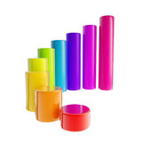 Rainbow colored bar graph, glossy, isolated vector illustration