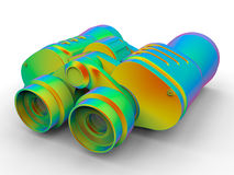 Rainbow colored binoculars. 3D render illustration of a pair of rainbow colored binoculars. The composition is isolated on a white background with shadows Stock Image