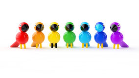 Rainbow colored birds Royalty Free Stock Photos