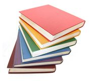 Rainbow colored books Stock Images