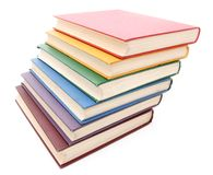 Rainbow colored books. Isolated on white background Royalty Free Stock Photos