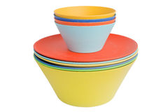 Rainbow-colored bowls Royalty Free Stock Photo