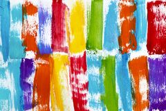 Rainbow colored bright streaks of paint stock photography