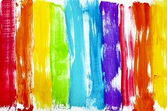 Rainbow colored bright streaks of paint stock image