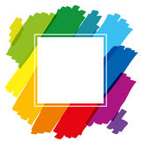 Rainbow Colored Brush Strokes Square Stock Photography