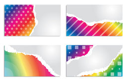 Rainbow colored business card set Stock Photos