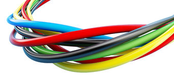 Rainbow colored cables over Stock Photo
