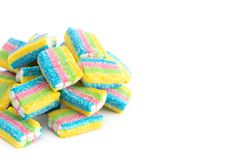 Rainbow Colored Candy Filled With White Cream Stock Photo
