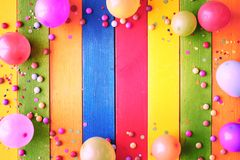 Rainbow colored carnival background and copy space royalty free stock photos