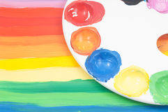 Rainbow colored child art Stock Photo