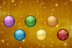 Rainbow colored Christmas ornaments Stock Image