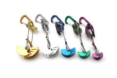 Rainbow colored climbing cams Stock Photography