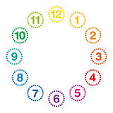 Rainbow colored clock face with hours one to twelve. Rainbow colored clock face with numerals and hours one to twelve. Analog clock and watch dial with circles royalty free illustration