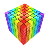 Rainbow-colored Cube Isolated Stock Photography