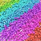 Rainbow Colored Cubes Scattered on the Floor. Colorful Spectrum Background. 3D Illustration Stock Photography