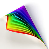 rainbow colored curled document corner Stock Photos