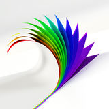Rainbow colored curled document corner side view Stock Photography