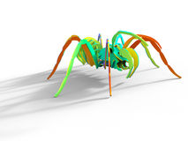 Rainbow colored 3D puzzle spider Stock Images