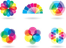 Rainbow Colored Design Elements. Set of 6 multicolored design elements. CMYK, EPS 8 vector illustration with global colors Stock Images