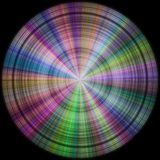 Rainbow colored disc, sphere in black background as hires texture Stock Photos