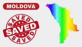 Spectrum Mosaic Moldova Map and Grunge Saved Watermark. Rainbow colored dotted Moldova map and stamps. Red round Saved grunge watermark. Gradiented rainbow stock illustration