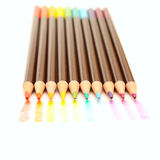 Rainbow colored drawing with color pencils Royalty Free Stock Images