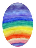 Rainbow Colored Easter Egg. An oval egg is colored in a rainbow of colors. The colors red, orange, yellow, green, blue, indigo, and violet are painted onto the Royalty Free Illustration