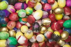 Rainbow colored eggs at annual Old Spanish Days Fiesta held every August in Santa Barbara, California Stock Photos