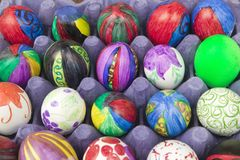 Rainbow colored eggs at annual Old Spanish Days Fiesta held every August in Santa Barbara, California Royalty Free Stock Photography