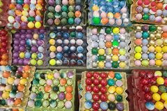 Rainbow colored eggs at annual Old Spanish Days Fiesta held every August in Santa Barbara, California Stock Images