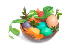 Rainbow-colored eggs with ribbon Stock Photography