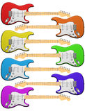Rainbow colored electric guitars Stock Image