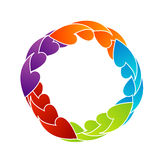 Rainbow colored floral design element or logo Stock Images