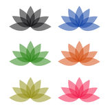 Rainbow colored floral design element or logos Royalty Free Stock Images