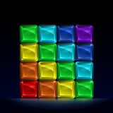 Rainbow colored glass cubes. Group of colorful glass blocks forming a cube and representing seven colors of the spectrum Royalty Free Stock Photos
