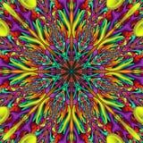 Rainbow colored glossy fractal mandala. Digitally generated colorful 3D mandala with many glossy elements royalty free illustration