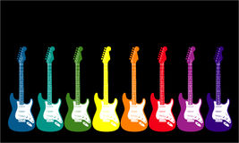 Rainbow Colored Guitars Stock Images
