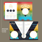 Rainbow colored half-fold brochure template design. With triangle and circular elements Royalty Free Stock Photography