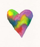 Rainbow colored heart watercolor painting Stock Photography